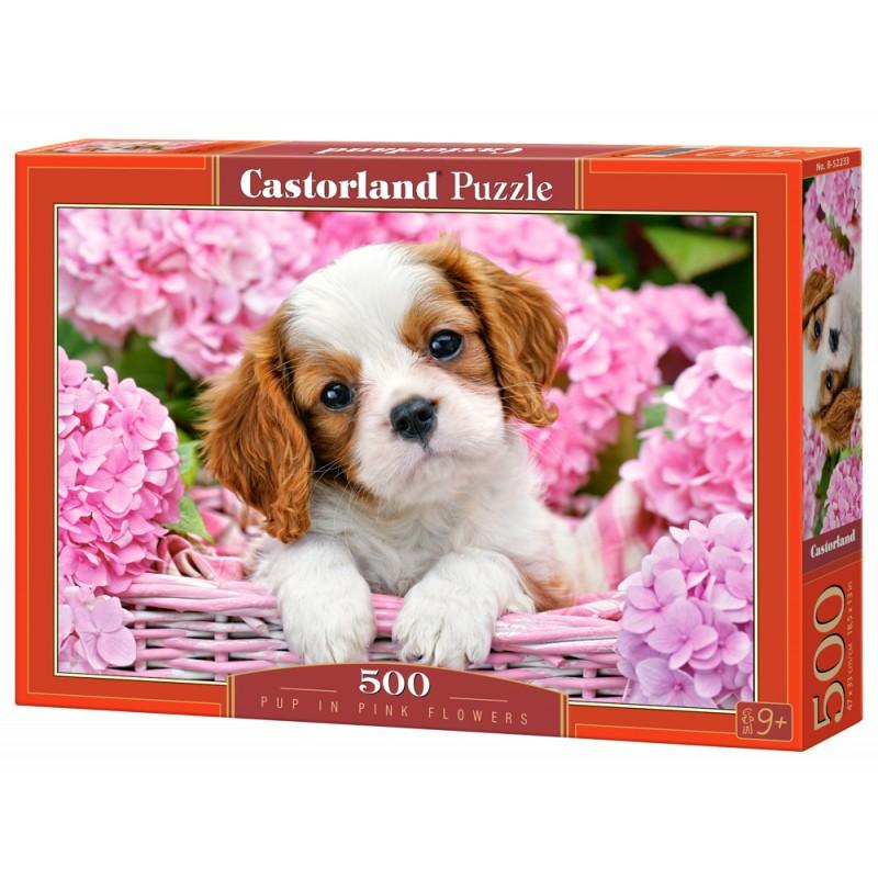 Puzzle 500 el. Pup in Pink Flowers - Szczeniak w różowych kwiatach