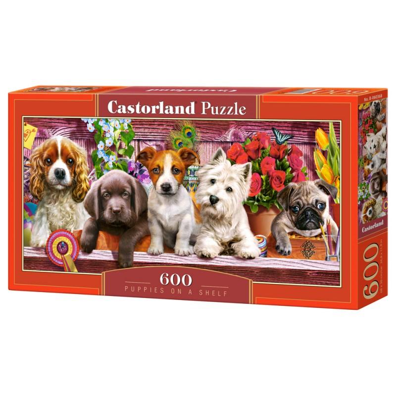 Puzzle 600 el. Puppies on a Shelf - Szczeniaczki na półce