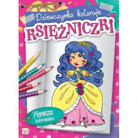 Kolorowanka - Dziewczynka koloruje księżniczki