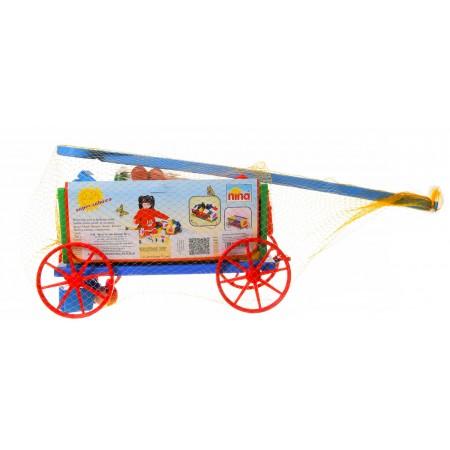 Bajkowy wózek z klockami - ciągacz