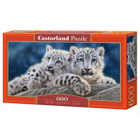 Puzzle 600 el. Snow Leopard Cubs - Śnieżny Lampart