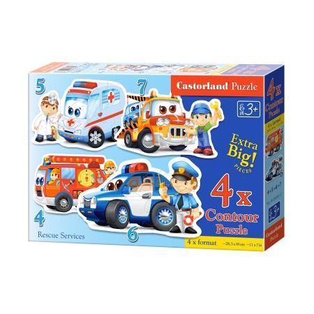 Puzzle konturowe dla malucha 4w1 - pojazdy ratunkowe
