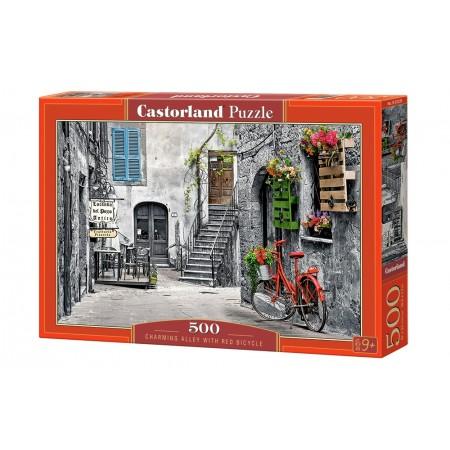 Puzzle 500 el. Charming Alley with Red Bicycle - Szara uliczka i czerwony rower