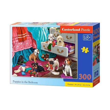 Puzzle 300 el. Puppies in the Bedroom - Szczaniaki w sypialni