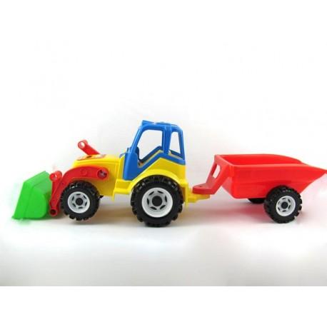Traktor farma z przyczepą i łyżką