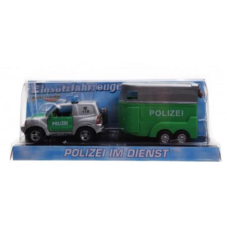 Jeep policja z przyczepą dla konia