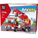 Klocki blocki MyFire straż pożarna auto dźwig 244 el