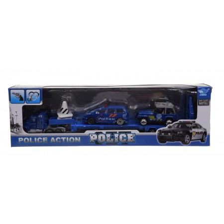 Truck + 2 pojazdy policji