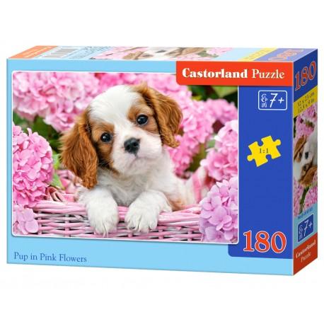 Puzzle 180 el. Pup in Pink Flowers - Szczeniak w różowych kwiatach