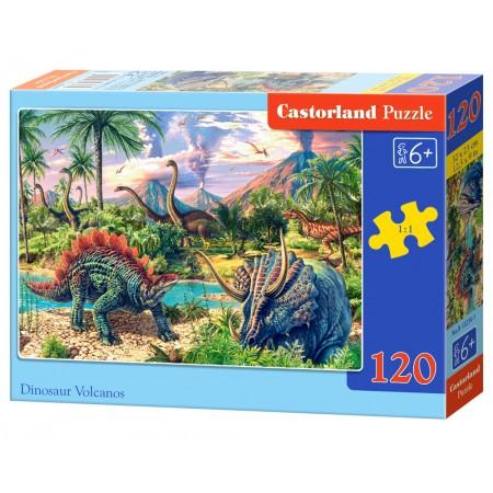 Puzzle 120 el. Dinosaur Volcanos - Dinozaurowe wulkany