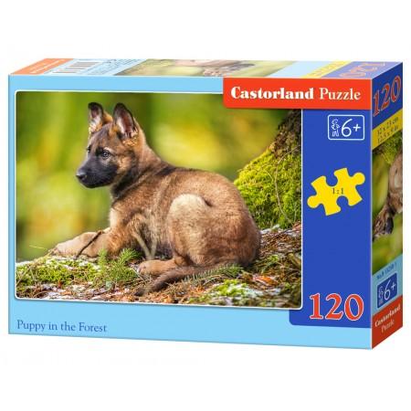 Puzzle 120 el. Puppy in the forest - Szczeniak w lesie