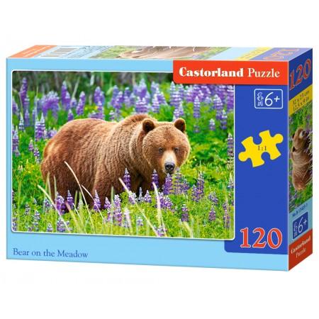 Puzzle 120 el. Bear on the meadow - Niedźwiedź na łące