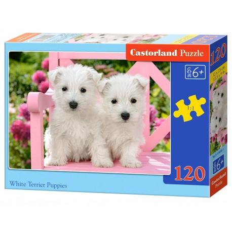 Puzzle 120 el. White Terrier Puppies - Szczeniaki Westów