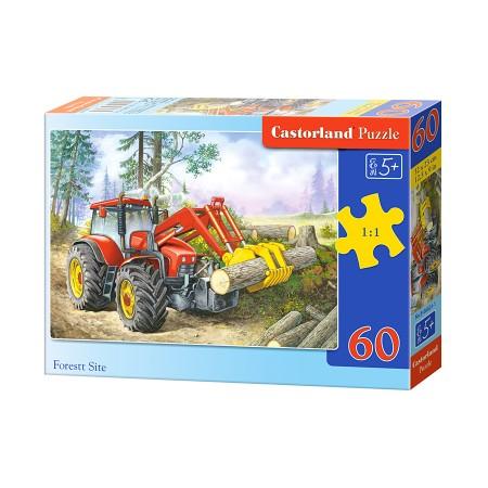 Puzzle 60 el. Forest Site - Koparka pracująca  lesie z drewnem