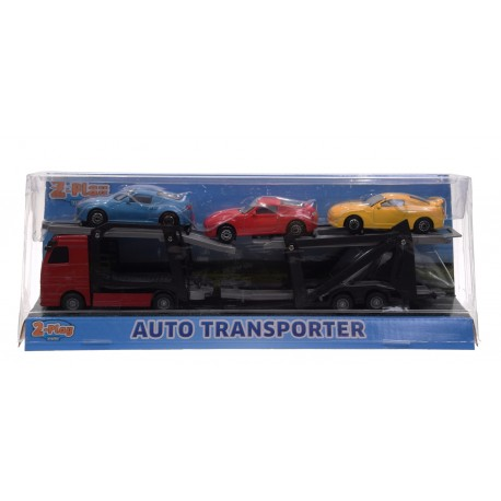 Auto transporter z trzema autami metal