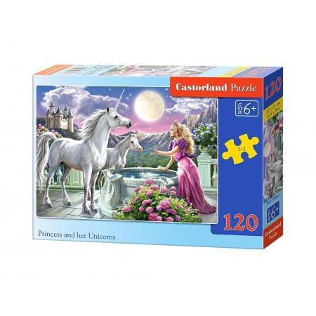 Puzzle 120 el. Księżniczka ze swoimi jednorożcami