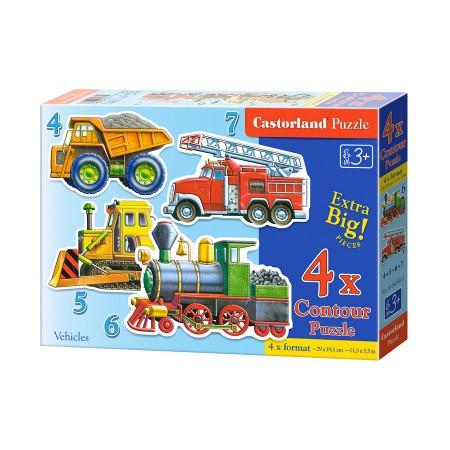 Puzzle konturowe dla malucha 4w1 - pojazdy