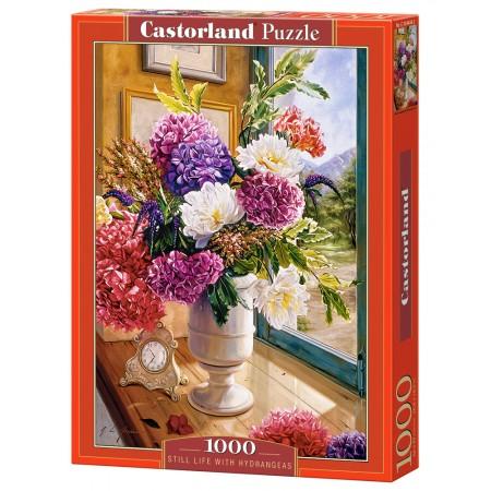 Puzzle 1000 el. Still Life with Hydrageas - Bukiet Hortensji