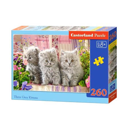 Puzzle 260 el. Three grey kittens - Trzy szare koty