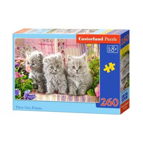 Puzzle 260 el. Three grey kittens - Trzy szare koty
