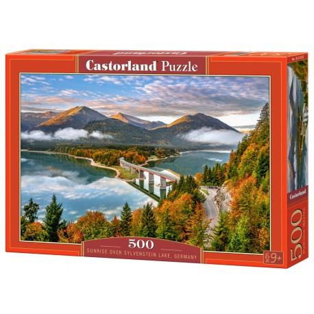 Puzzle 500 el. Sunrise over Sylvenstein Lake - Wschód słońca nad jeziorem Sylvenstein