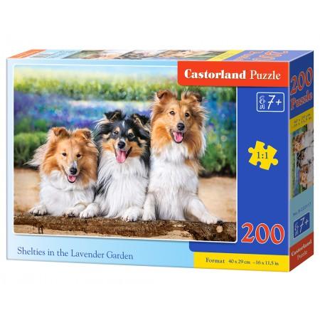 Puzzle 200 el. Shelties in the Lavender Garden - Owczarki w ogrodzie