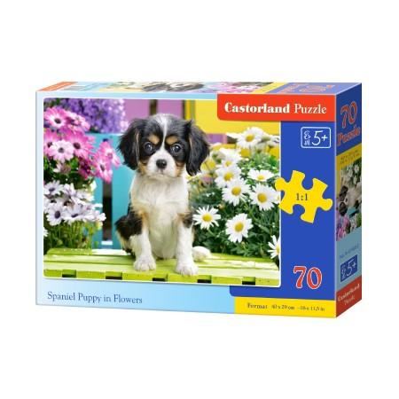 Puzzle 70 el. Spaniel Puppy in Flowers - Szczeniak spaniela w kwiatach