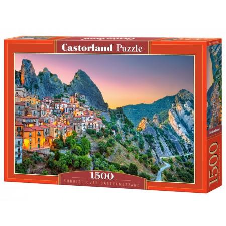 Puzzle 1500 el. Sunrise over Castelmezzano - Zachód słońca nad zamkiem