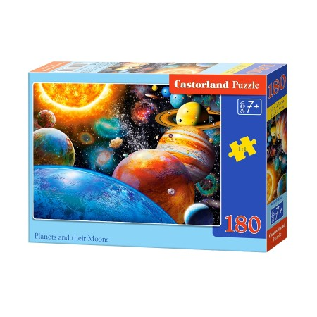 Puzzle 180 el. Planets and their moons - Planety i ich księżyce