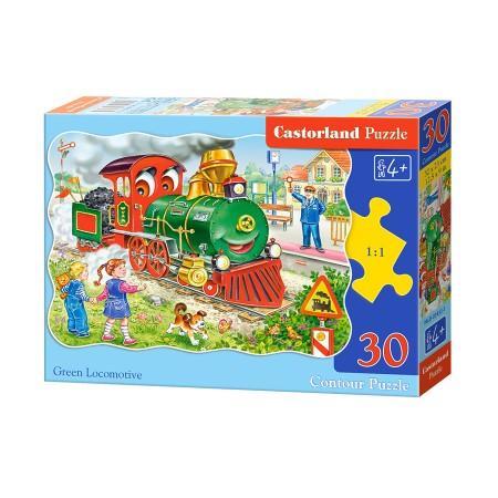 Puzzle 30 el. Green Locomotive - Zielona lokomotywa