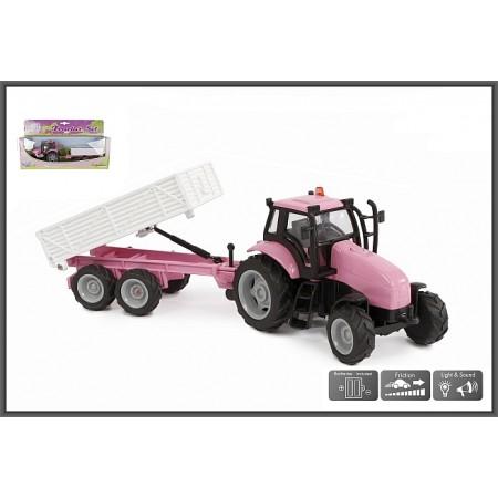 Metalowy traktor różowy